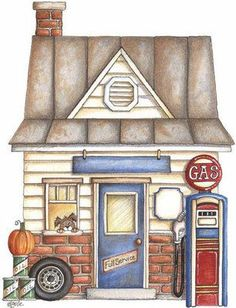 """Search result for """"laurie furnell clipart"""" Vintage Diy, Illustrations, Illustration Art, Arte Country, House On The Rock, House Quilts, Cute House, Building Art, Autumn Crafts"""