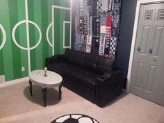 Boy Room, Kids Room, Sport Room, Soccer Room, Scarf Display, Sports Trophies, Standing Table, Season Ticket, Basement Ideas