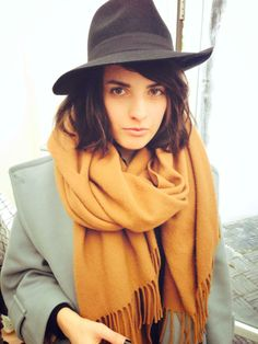 Black fedora  Camel scarf
