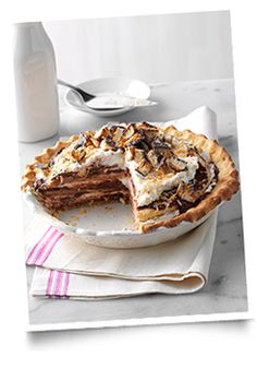Just in time for #Thanksgiving! Chocolate Coconut Chantilly Pie with #CarameldeLites / #Samoas as an added topping. Yum!