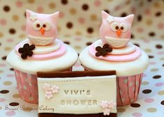 owl themed cupcake for bridal shower
