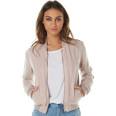 Womens All About Eve Easy Rider Womens Bomber Pink Cotton (195 BRL) ❤ liked on Polyvore featuring outerwear, jackets, bomber jackets, pink, women, bomber style jacket, pink bomber jacket, blouson jacket, flight jacket and all about eve