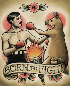 Parlor Tattoo Prints  — Boxer Boxing Kangaroo Tattoo Flash Art by Quyen Dinh