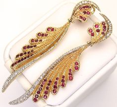 ERTE FANTASY Earrings with Diamonds & Rubies - Signed, Certificated