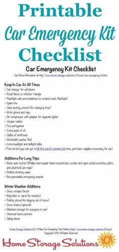 Free printable car emergency kit checklist with all the essentials you need to keep yourself and your family safe in case of emergency in the car {on Home Storage Solutions 101} #CarEmergencyKit #EmergencyPreparedness #CarOrganization