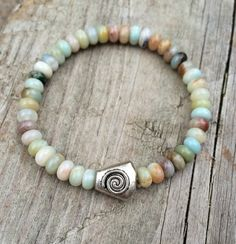 Natural Stone Amazonite Stretch Bracelet with Silver Spiral Accent