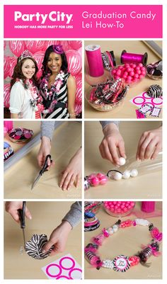 How to make candy leis! Fun & trendy for a divalicious graduation party, or any party colors or theme!