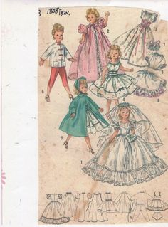 VINTAGE 1956 - 18 IN. VERY FANCY DOLL WARDROBE PATTERN-OUTSTANDING CLOTHES- #489
