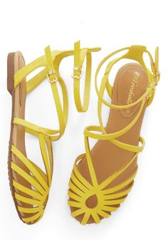 Boardwalk Lemonade Sandal. Cool down a hot day with a frozen lemonade and a stroll in these cool yellow sandals! #yellow #modcloth