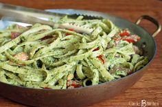 Fettuccine with Arugula Pesto and TomatoSalsa - Circle B Kitchen - Circle B Kitchen