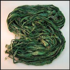 Silk Sari Ribbon Dark Moss