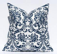 Navy Blue Pillow Throw Pillow Cover 18x18 Navy White Pillow ONE Dark Blue Pillow Printed fabric both sides Housewares Home Decor 17.00