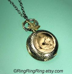 Women pocket watch necklace jewelry  Unique ROMAN by RingRingRing, $29.00