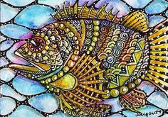 I am inspired by this fish drawn by Margaret Storer-Roche on Flickr.