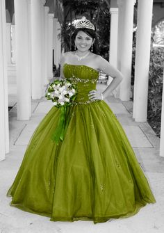 Quinceanera photo Lime Green