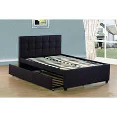 Shop for Best Quality Furniture Full Upholstered Panel Bed with Twin Trundle Bed. Get free delivery On EVERYTHING* Overstock - Your Online Furniture Outlet Store! Bed Furniture, Home Decor Furniture, Quality Furniture, Furniture Design, Platform Bed Sets, Upholstered Platform Bed, Bedroom Bed Design, Bedroom Decor, Twin Trundle Bed
