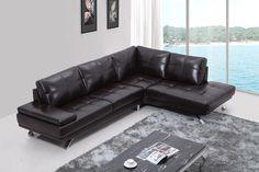 Divani Casa Knight Modern Brown Leather Sectional Sofa