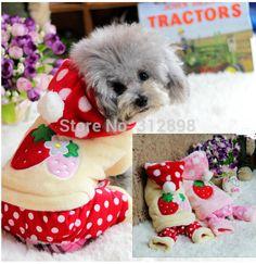 đôi lông cừu dày 2014 mùa đông mới dâu dễ thương màu đỏ/hồng vật nuôi quần áo chó con chó con mèo gh0618 Yorkshire tổng thể sản phẩm
