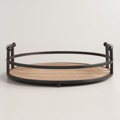 Wood and Antiqued Bronzed Round Serving Tray - v1