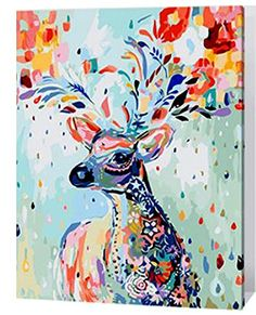 MailingArt Wooden Framed Paint By Number Animal No Mixing / No Blending Linen Canvas DIY Painting - Color Deer ** Check out this great image @