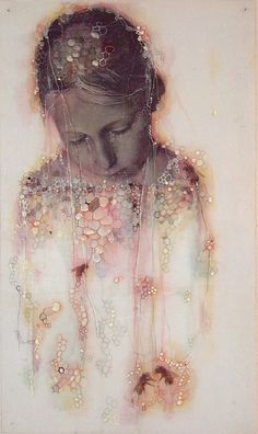 My Bees | Sibylle Peretti   ( #mixed_media on glass )