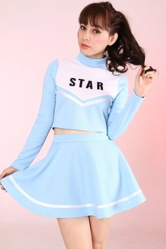 Team Star <3 Team Star Cheerleading Set in Baby blue Please allow 5-6 weeks to be shipped Top - plastic zipper at back. Skirt - hidden side zip...