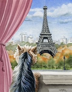 """""""Yorkshire Terrier in Paris"""". This is a professional, archival quality open edition Yorkshire Terrier art print. from an original watercolor painting by artist David J. The detail and color are outstanding. Dog Training Methods, Dog Training Techniques, Best Dog Training, Yorkies, Yorkie Dogs, Chien Yorkshire Terrier, Top Dog Breeds, Positive Dog Training, Ville France"""