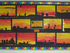 Kindergarten art: autumn sunsets with pumpkin patch silhouettes.