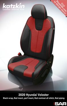 - This is a 2020 Hyundai Veloster seat with Black wrap, Red insert, perf insert, Red contrast all stitch, Red piping. Leather Kits, Custom Leather, Real Leather, Automotive Upholstery, Car Upholstery, Camo Gear, Leather Seat Covers, Hyundai Veloster, Popular Colors