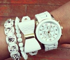 White watch & bracelets