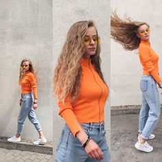 Get this look: http://lb.nu/look/8800887  More looks by Anette Kramarska: http://lb.nu/anettekram  Items in this look:  Other Stories Shirt, Urban Outfitters Yellow Glasses, Pull & Bear Mom Jeans   #grunge #sporty #street #orange #sportychic #90s #weekday #jeans #yellow