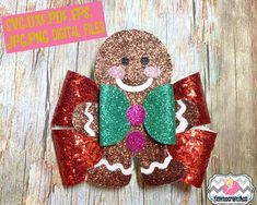 Holiday Christmas Gingerbread man Hair Bow Template By Timetocraftshop Diy Hair Accessories Ribbon, Unique Hair Bows, Diy Hair Bows, Making Hair Bows, Bow Making, Christmas Hair Bows, Christmas Makes, Christmas Holidays, Christmas Gingerbread Men