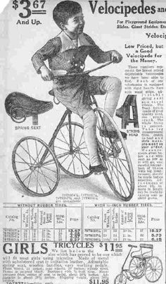 Dreirad- und Strümpfe-Werbung, USA ca 1900