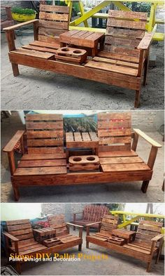 50 Creative Wood Pallet DIY Ideas Check out the delightful shine of this useful wood pallet chair idea shown below. It is impressively designed with t. Pallet Furniture Designs, Wood Pallet Furniture, Diy Furniture Plans Wood Projects, Diy Pallet Projects, Outdoor Furniture, Pallet Wood, Furniture Ideas, Furniture Online, Cheap Furniture