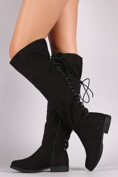 Bamboo Faux Suede Lace Back Knee High Boots