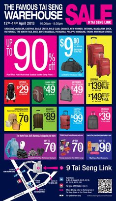 12th-14th April - Warehouse Sale - All the best of Travel Gear and more.....  Get up to 90% off bags, travel accessories, winter wear and more from brands like Victorinox, Eastpak and The North Face! Items going from $1 onwards.  9 Tai Seng Link S(534053)
