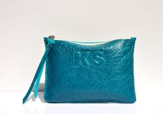 Small Teal Textured Leather Clutch Leather Pouch by JillBrodeur, $150.00