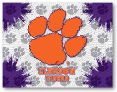 Clemson Tigers D1 Printed Logo Canvas.  Visit SportsFansPlus.com for Details.