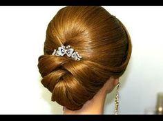 Bridal updo. Wedding hairstyles for medium long hair. Прическа на выпускной, свадебная прическа. - YouTube
