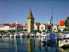 View of the harbor in Lindau located on the Bavarian shores of Lake Constance, Germany