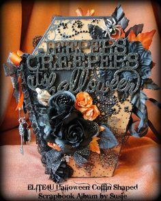 ELITE4U Shabby Halloween Coffin HANDMADE BINDER PAGE SCRAPBOOK ALBUM by Susie in Crafts, Scrapbooking & Paper Crafts, Scrapbooking Albums   eBay