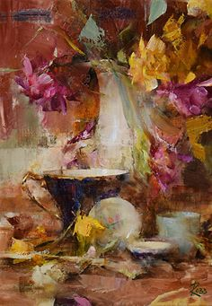 Dried Roses and Teacup by Laura Robb Oil ~ 14 x 10