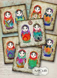 muñecas de anidación ruso y tarjetas de felicitación en