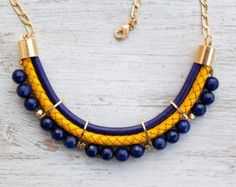 Violet ink and Yellow colors Meteorites Statement Jade Necklace by Pardes