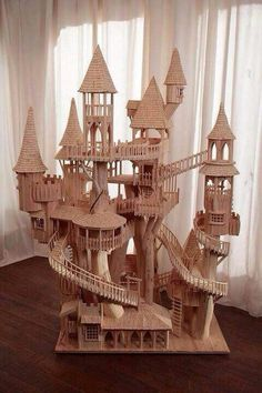 Castle for mice! This would work with popsicle sticks, too.