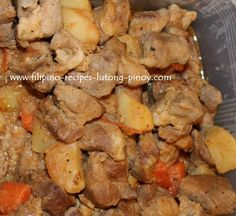 Menudo Filipino Recipe  This is one of the bestdishes that every Filipino can be proud of. Menudo for Filipinos is a dish of diced pork, liver and vegetables but when the Mexicans were about to ask about menudo, they will refer that to savory and spicy tripe soup.   http://www.filipino-recipes-lutong-pinoy.com/menudo-filipino-recipe.html