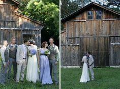 Love the hydrangea blue flowers and bridesmaid dress with gray grooms men outfits, perfect in front of weathered wood barn!