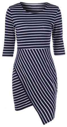 Stylish Striped Color Block Irregular Bodycon Dress