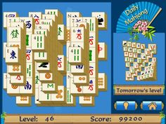 Daily Mahjong is your daily puzzle dose! Play a new board every day and sneak a peek at tomorrow's board. Try it for FREE-->http://game.zylom.com/servlet/Entry?g=19&s=18648&nocache=1393923461559