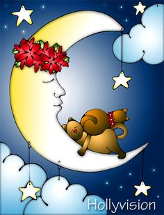 Sweet Dreams cats and moon painting ... http://www.etsy.com/shop/HollyvisionArt